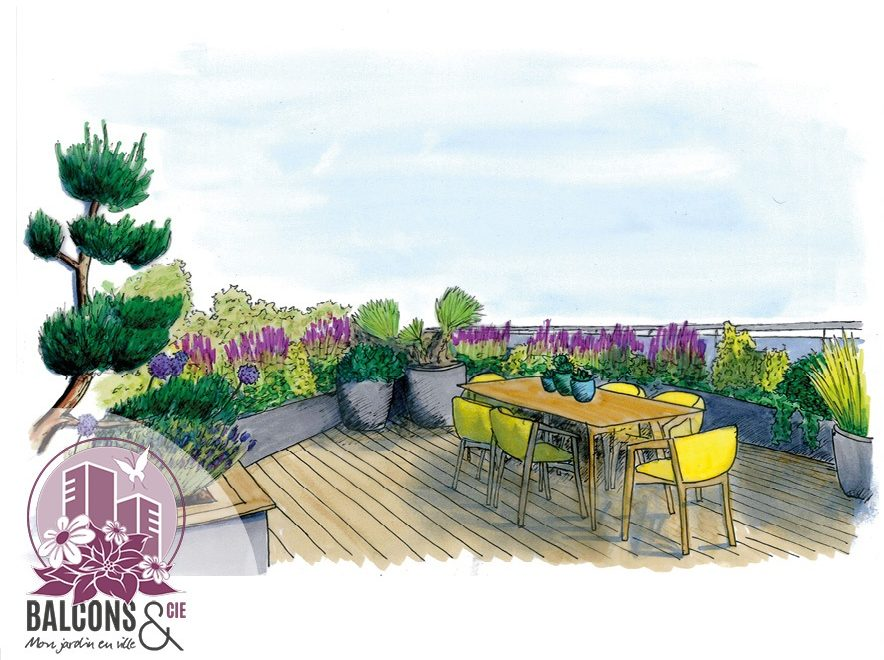 conception aménagement 3D dessin balcon fleuri attique plantation végétalisation décoration architecte paysagiste genève